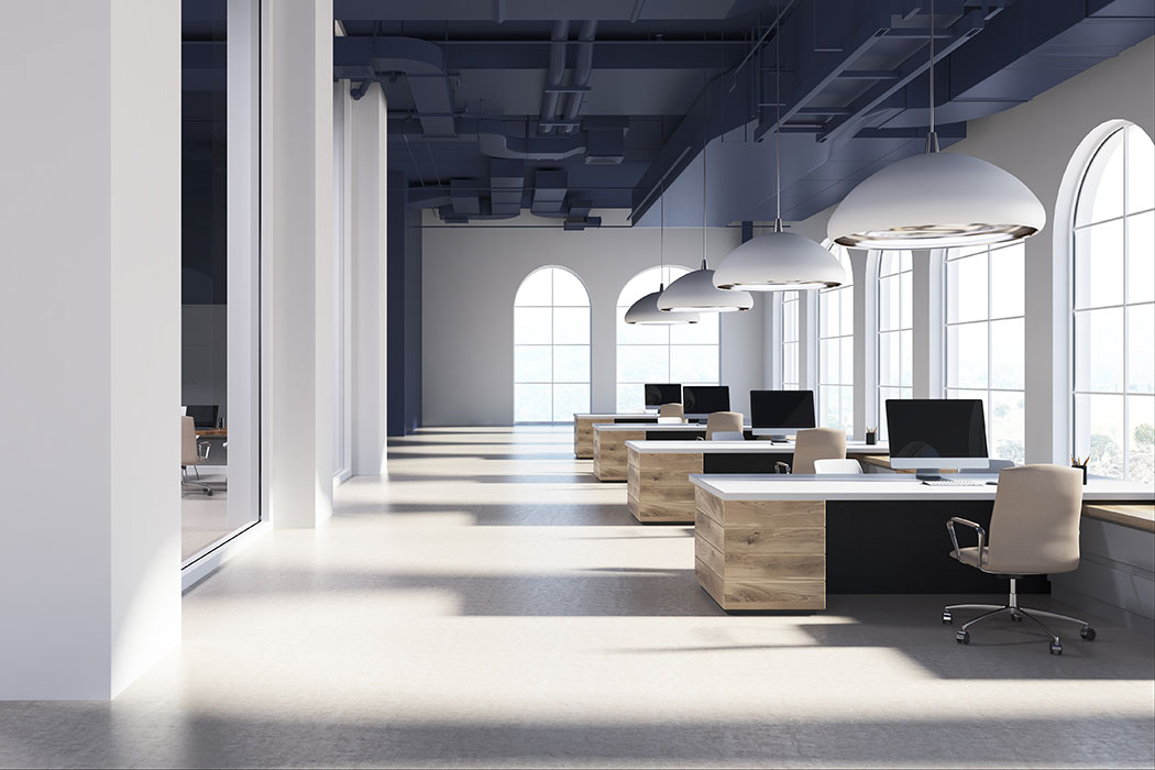 White modern open space office interior