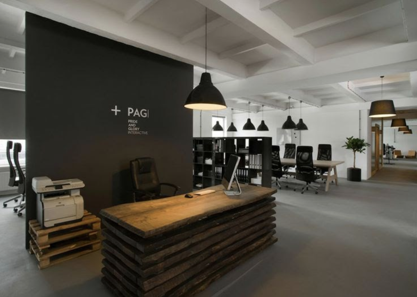 Merge industrial and rustic - office interior design inspiration