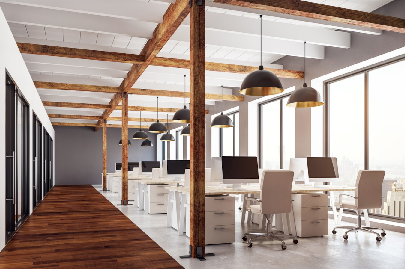 Rustic elements incorporated throughout the space in the office