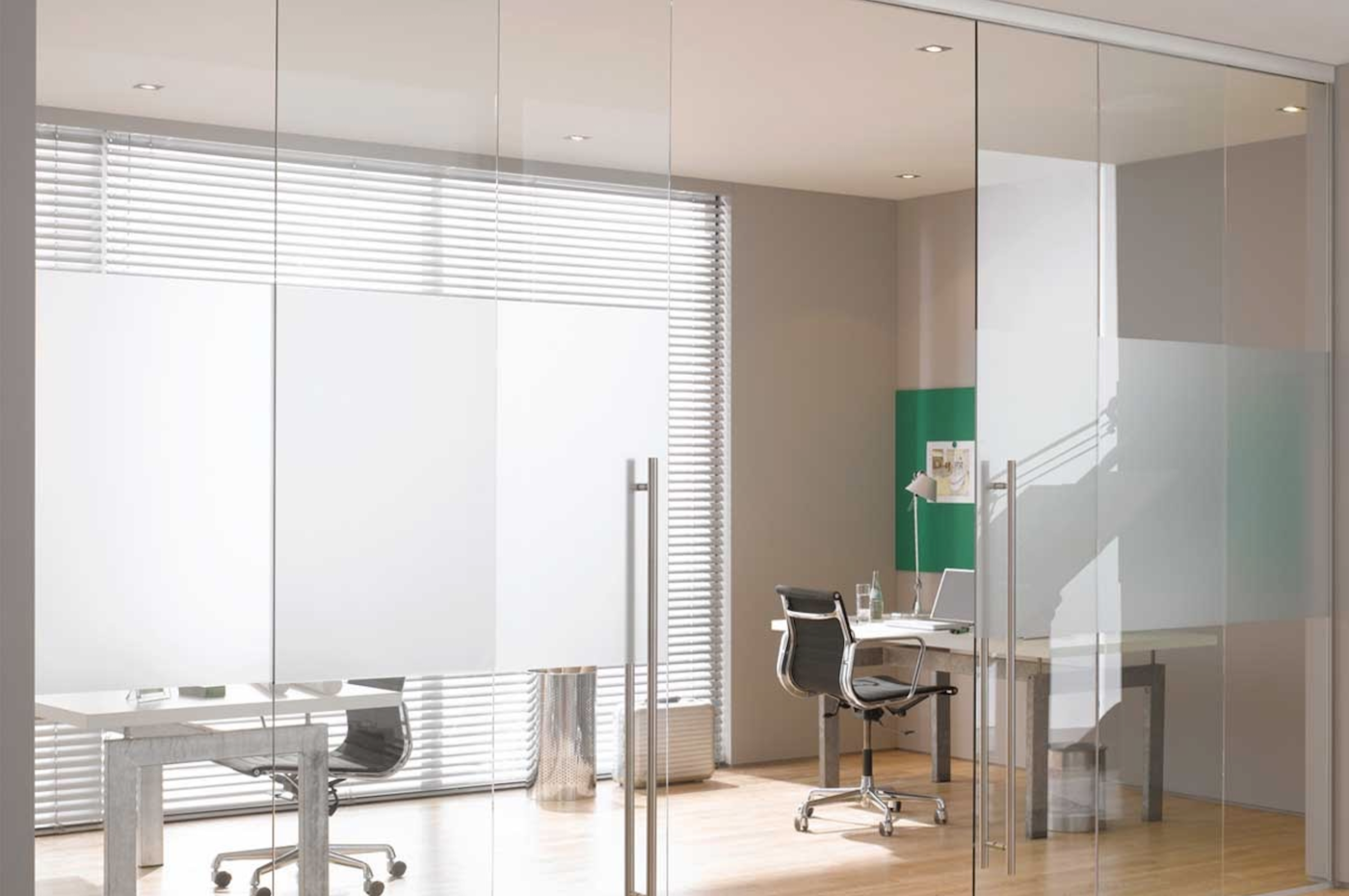 Assisted close sliding glass office doors close smoothly