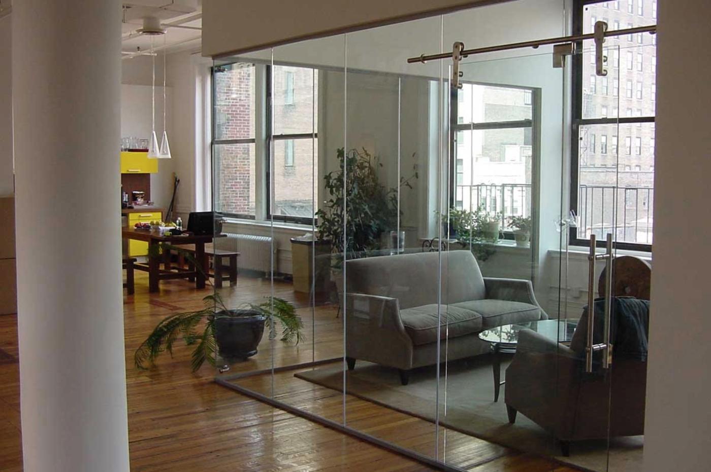 Sliding glass barn doors for the office