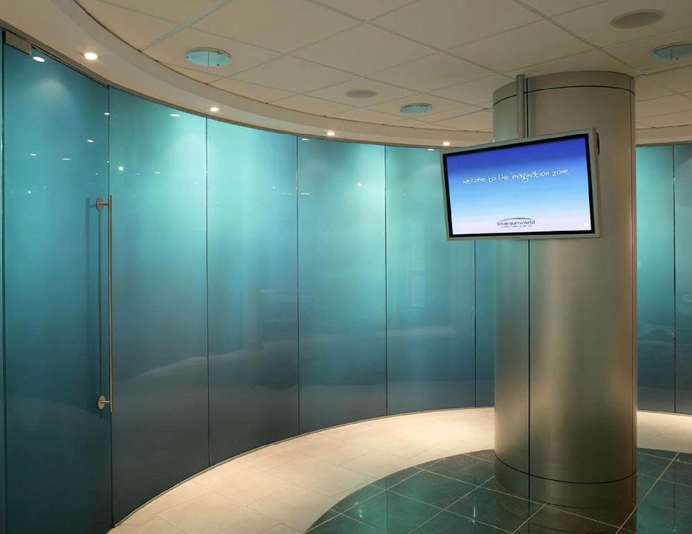 Electronic switchable glass doors