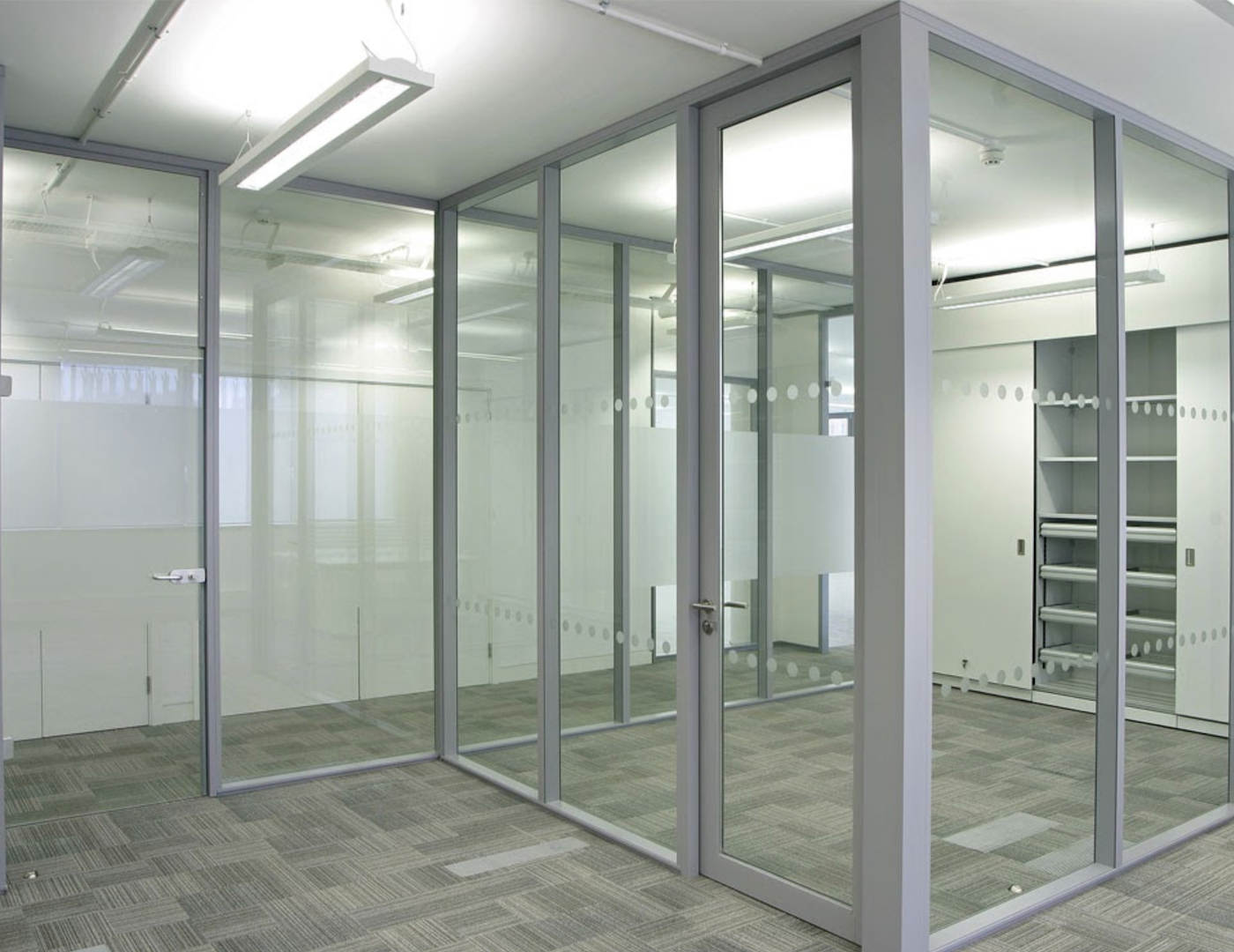The hinged glass frame swing door can be free swing or self-closing