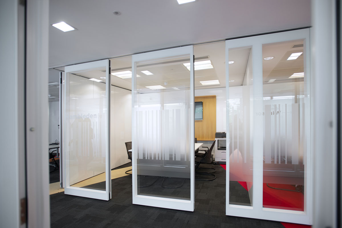 Privacy Needs With Accordion Glass Wall